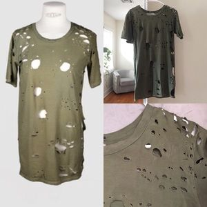 Balmain Tops - Balmain distressed green tee with holes, size 36.